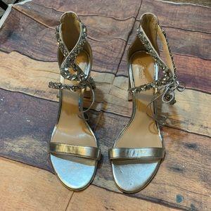 Jewel Badgley Mischka Silver Jeweled Block Heels11